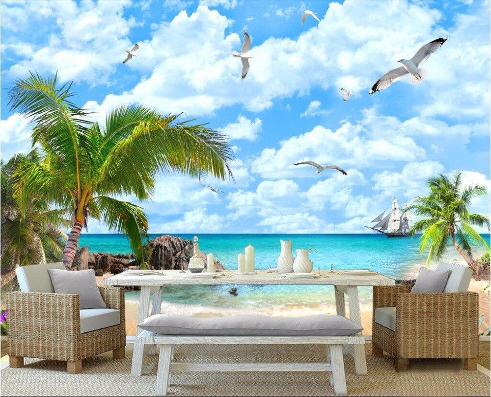 Wallpaper Bergambar Pantai dan Pohon Kelapa - Inspirasi Gambar Wallpaper Dinding Tema Pantai Untuk Suasana Ruangan yang Santai - pt.aliexpress.com