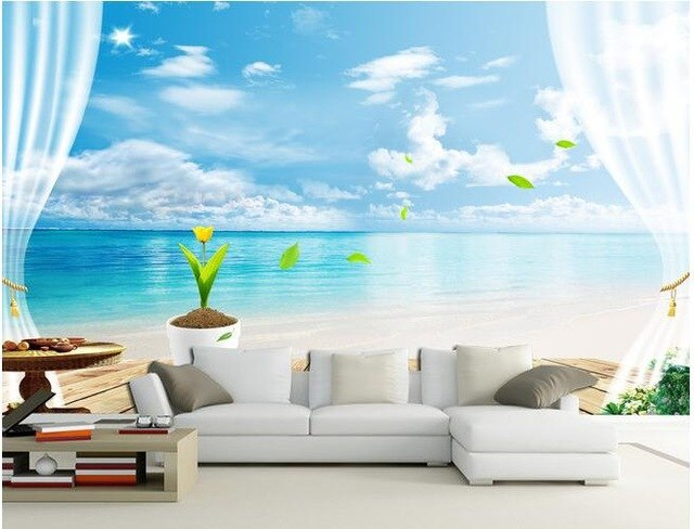 Wallpaper Pantai 3 Dimensi - Inspirasi Gambar Wallpaper Dinding Tema Pantai Untuk Suasana Ruangan yang Santai - AliExpress.com