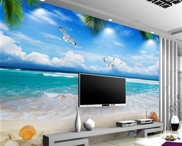 Wallpaper Tema Pantai dengan Laut dan Langit Biru - Inspirasi Gambar Wallpaper Dinding Tema Pantai Untuk Suasana Ruangan yang Santai - aliexpress.com